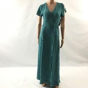 Lulus Women's Long Wrap Dress Belted Short Sleeve